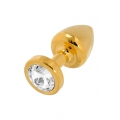 Swarovski Crystal Butt Plug 25mm - Gold